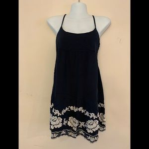 A& F Dress Nvy BL Floral Btm Criss Cross Back Mini